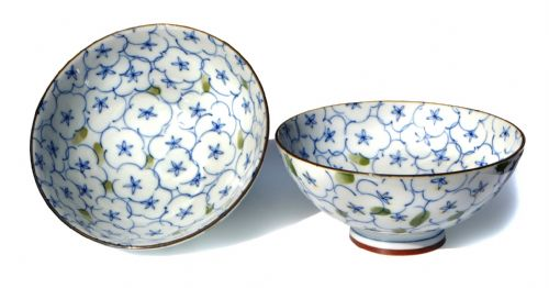 Japanese Ocean of Flowers bowls X2